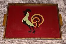 ART DECO  COCKTAIL SERVING TRAY  INLAID  ROOSTER  VINTAGE  BARWARE  LARGE