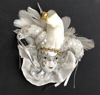 Unique vintage handmade  Mardi Gras Jester brooch pin