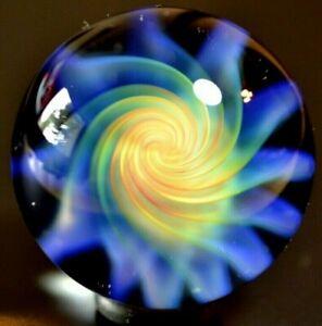 """ETHAN LESCH GLASS MARBLE/1.468""""-MANGO PINWHEEL-TRANSPARENT BEAUTY IN MANGO, MINT"""