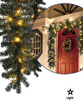 5m Pre Lit Pine Garland Warm White 80 LED Lights Christmas Decoration Mantle