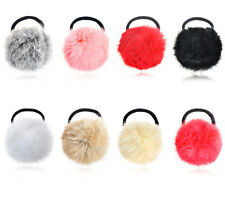2pcs Fur Elastic Rubber Hair Band Pom Scrunchie Hair Rope Rings Hair Accessories