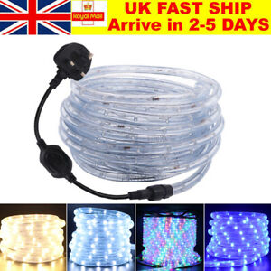 1m-25m LED Rope Tube String Mains Plug Fairy Lights Outdoor Garden Lamp 220V UK