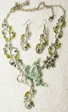 jewelry set new green crystal butterfly necklace earrings Silver tone set