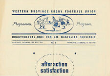 WESTERN PROVINCE No 5 May 1961 SOUTH AFRICA RUGBY PROG UCT 'A' v STELLENBOSCH