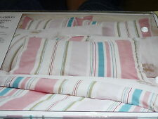 LAURA ASHLEY VOYAGER PINK STRIPE SINGLE BED QUILT/DOONA/DUVET COVER SET BNIP