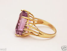 *** GORGEOUS 14K YELLOW GOLD RING WITH LARGE MUSEUM SIZE AMETHYST & DIAMONDS ***