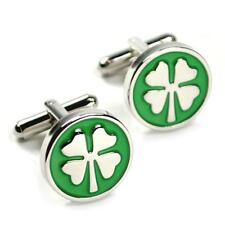 FOUR LEAF CLOVER CUFFLINKS Irish Good Luck Shamrock Green 4 Leaf St Patricks Day