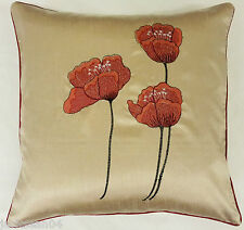"Filled Poppy Red Cream Faux Silk Floral 18"" Embroidered Cushion"