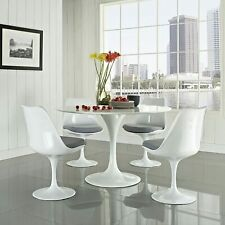 """31.5"""" White Tulip Round Dining Table, Swivel Side Chairs Set Mid Century Style"""