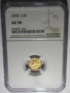 1850 GOLD LIBERTY HEAD $1 PCGS AU58 TYPE ONE DOLLAR COIN CORONET RARE DATE