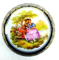 Vintage FRAGONARD Hand Painted COBALT Porcelain TRINKET BOX France LIMOGES