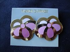 VINTAGE FASHION CLOISONNE TRI-PINKS RETRO ABSTRACT FLOWER STUD EARRINGS