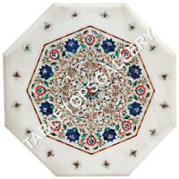 """18"""" White Marble Coffee Table Top Lapis Carnelian Floral Inlay Decorative E639"""