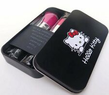 7pc black Hello Kitty Makeup Foundation Eyeshadow Eyeliner Cosmetic Brush Set
