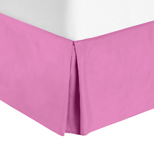 """Premium Luxury Pleated Tailored Bed Skirt - 14"""" Drop Dust Ruffle, Queen - Pink"""