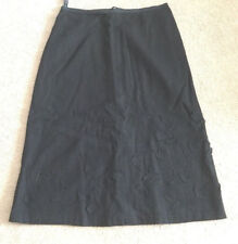 FRENCH CONNECTION Black Embroidery Wool Lined Skirt Size 4