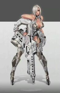 1/24 75mm Resin Figure Model Kit Sexy Girl Shooter CyberPunk Warrior Unpainted