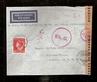 2) Netherlands Indies 1941 Censored airmail cover  to USA KNILM Tasman PAA OAT