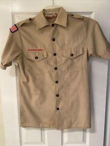 Boy Scout BSA UNIFORM SHIRT Mens Small Short Sleeve Tan I17
