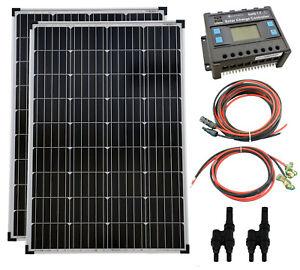 solartronics Solar Set 2x100 Watt Modul Mono 20A Laderegler Kabel Photovoltaik