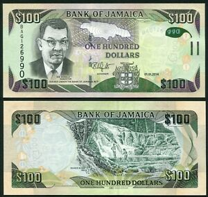 Jamaica 100$ 2014.01.01. Sir Donald Sangster P95a Hybrid Substrate UNC