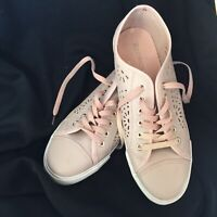 Laser Cut Faux Leather Pink Fashion Sneakers Women/Ladies Size 10