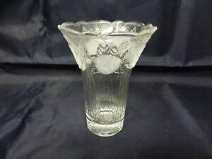 "Frosted & Clear Floral Motif ""Sara"" Crystal 4.5""  Vase"