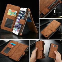 Retro PU Leather Case Card Wallet Phone Cover Purse Bag For iPhone XS XR Samsung