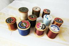 Lot of 10 pieces Vintage COATS & CLARKS Talon Wood Thread Spools Blue Brown