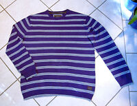ESPRIT Pullover Gr.L lila grau schwarz weiß gestreift 100% Baumwolle