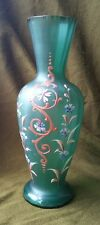 19th Century Green Glass Vase with Enameled Decoration