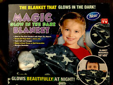 """Magic Glow in the Dark night sky Blanket Throw Cover 50"""" x 60"""" soft & snuggly"""