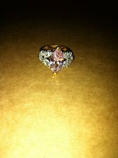 Large Cocktail Pink Clear CZ Ring Sterling Silver Gold Plated Size US 7