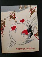 Vtg Christmas Greeting Card Santa Snowball Reindeer ART  HAND MADE-Bressilo's
