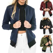 Damen Reißverschluss Stilvolle Mantel Bomber Baseball Jacke Frau Oberbekleidung