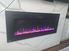 "Real Flame Dinatale Wall Hung Electric Fireplace in Black, 50"" RGB COLOR"