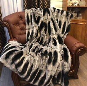 COZY REAL Full Skin Rex Chinchilla color fur throw fur comforter,fur blanket