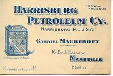 CARTE DE VISITE PUBLICITAIRE HARRISBURG PETROLEUM USA ETATS UNIS / MARSEILLE