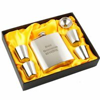Personalised Engraved Hip Flask 6oz Funnel Drinking Cups Set Groomsman Gift Box