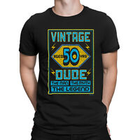 Mens 50th Birthday T-Shirt VINTAGE DUDE Aged 50 Years Funny Present Gift Top