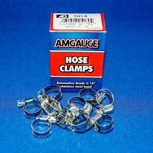"""Amgauge #4 Mini Hose Clamps Range 1/4"""" - 5/8"""" Stainless Steel Band - 10 pcs"""