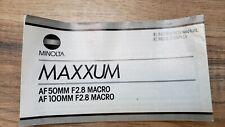 MINOLTA AF 50mm f2.8  & 100mm f2.8 MACRO lenses  MANUAL