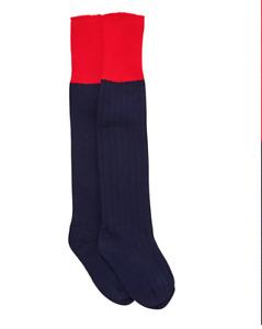Halbro Unisex School Games Socks Navy/Red (Highclare Junior) *BRAND NEW*