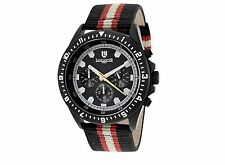 NEW Lancaster OLA0483BK/NRBRDCRBRD Men's Chronograph Red/Black Nylon Black Watch