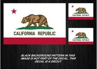 """LOT OF (3) California State Flag Decals 5"""" & 2"""" vinyl sticker USA"""