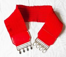 80S  RED BELT FRILL EFFECT STRETCH EXTRA WIDE SILVER METAL CLASP STEAM PUNK GOTH