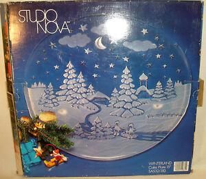 "15"" Winterland Glass Cake Plate Studio Nova Christmas Cookie Serving Platter"