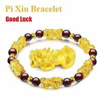 Feng Shui Amulet Pi Xiu Bracelet Prosperity Red Garnet Bead Pi Yao Lucky Wealthy