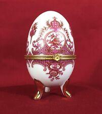 Vintage Porcelain Egg Trinket Box Baroque design #A46