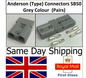 Pair of Anderson Type SB50A 50 Amp Connectors Grey Plug Terminal  Battery UK